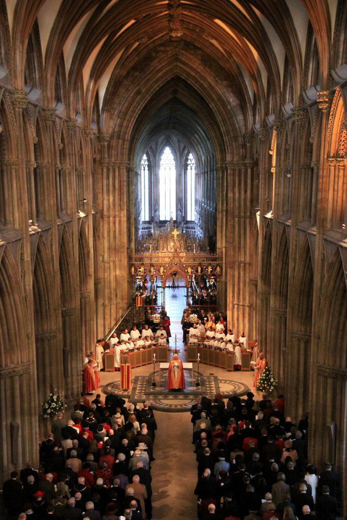 Their Royal Highnesses The Duke and Duchess of Gloucester attend a service of thanksgiving for Her Majesty The Queen's Jubilee at Lichfield Cathedral